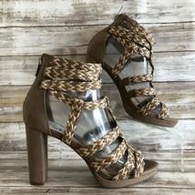 Jessica Simpson 6.5M Mavano Gladiator Platform Sandal Taupe Zip Block He... - $37.99