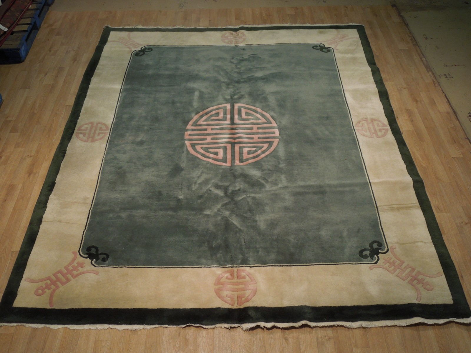 8x10 Lightly Used Original Green Art Deco Wool Hand-Knotted Rug image 4