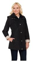 Liz Claiborne New York Button & Zip Front Coat w/ Contrast Trim, Black\Sand, XS - $32.66