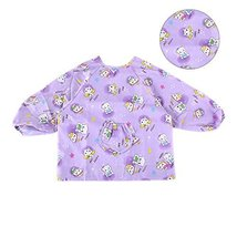 Purple Cotton Waterproof Sleeved Bib Baby Feeding Bibs Art Smock 2 PCS 2-4 Years