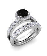 14k White Gold Finish Round Shape Simulated Diamond Bridal Engagement Ring - $80.31