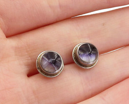 925 Sterling Silver - Vintage Glass Art Petite Round Stud Earrings - E9910 - $22.08