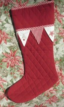 Quilted Embroidered Christmas Stocking Little White Company London New 2... - $14.24