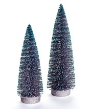 Set of 2 Chrismas Tree Decor -  Pine Look w Blue Detail on End of Branch