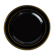 9 Inch Plastic Plates in Black with Gold Rim/Case of 120 - $127.49