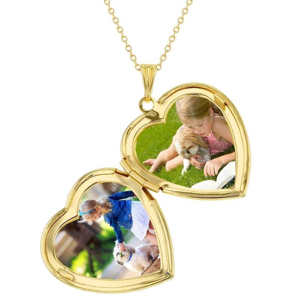 "Gold Tone My Dog Puppy Bone Paw Heart Photo Locket Pendant Necklace 19"""