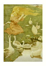 Goose Girl, Jessie Willcox Smith, 1911, Fairy Tale, ducks on pond,  Wild... - $15.99