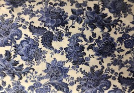 "Cream Blue Floral Valance Window Curtain Topper cotton fabric 43""W x 15""L - $10.88"