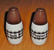 Vintage White Glass Corning Corelle Salt & Pepper Shakers Set - Brown - ... - $9.90