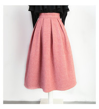 Lady Pink Winter Wool Skirt Pink High Waist Midi Pleated Skirt Winter Party Plus image 9