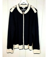St John Sport XL Jacket Cardigan Sweater Wool Blend Full Zip Black White... - $74.20
