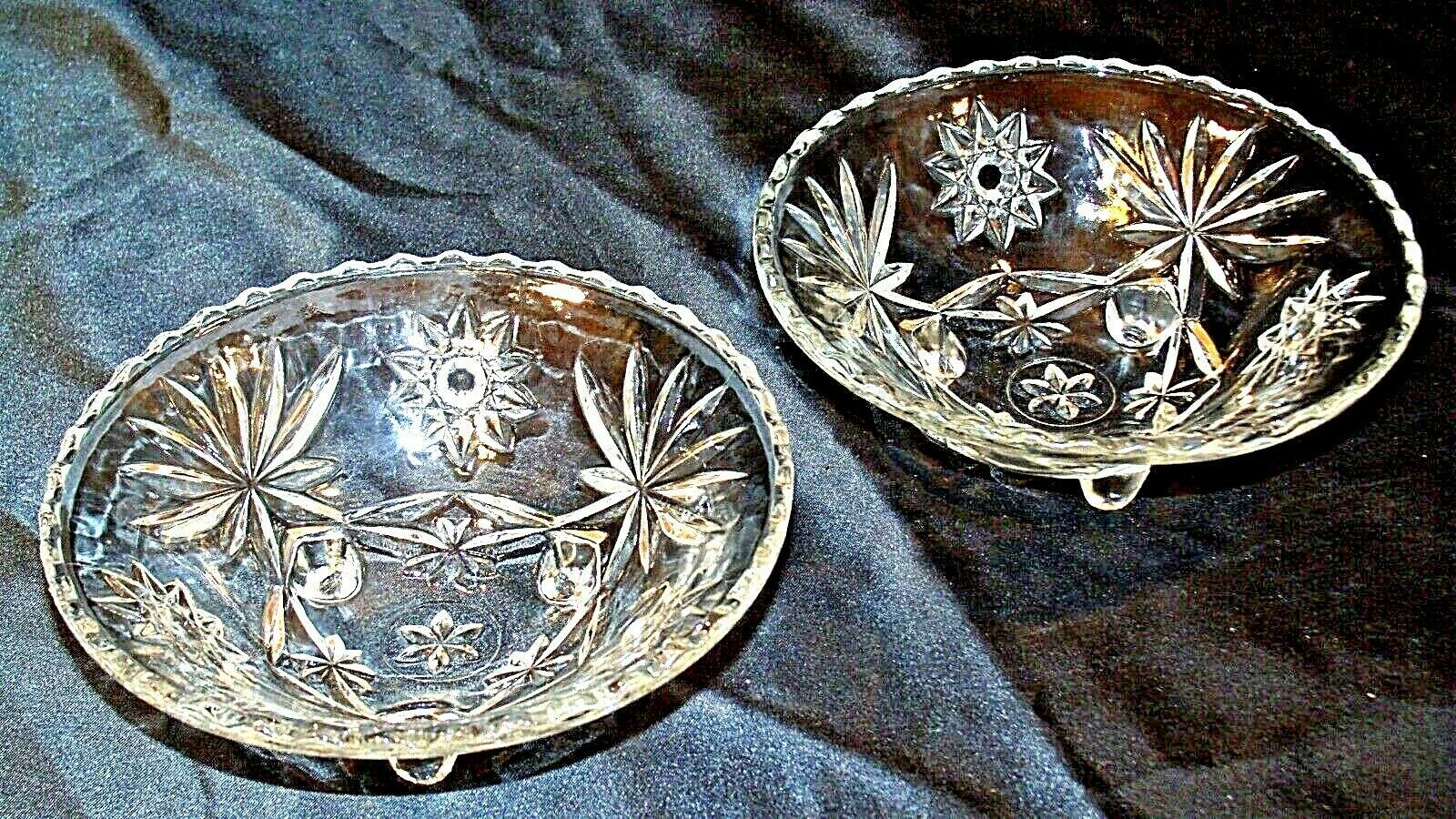 Heavy Etched Cut Glass Serving Bowls (Pair) AA20-CD0060 Vintage