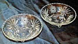 Heavy Etched Cut Glass Serving Bowls (Pair) AA20-CD0060 Vintage image 1