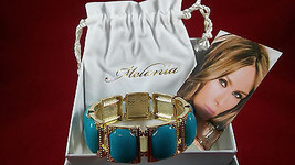 Collectible - Melania Trump Stretch Bracelet Turquoise & Gold tone     ... - $20.79