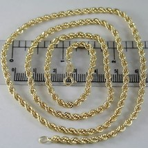 18K YELLOW GOLD CHAIN NECKLACE 3.5 MM BRAID BIG ROPE LINK 17.70 MADE IN ITALY image 1