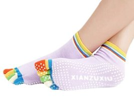Purple Thicken Non Slip Women Cotton Toe Yoga Socks - $178,43 MXN