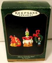 NEW Hallmark (Set of 3) Merry Grinch-mas! Mini Dr Seuss Christmas Orname... - $16.44