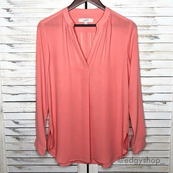 Primary image for [LOFT] Split Neck Tab Sleeve Tunic Blouse