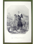 EGYPT Young Maiden Flees Nile Waters Pyramids - SUPERB Quality Print Eng... - $16.20