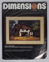 Dimensions Crewel Kit Sunlit Barnyard Mildred 18x12 Gallery Collection 1986 - $39.59