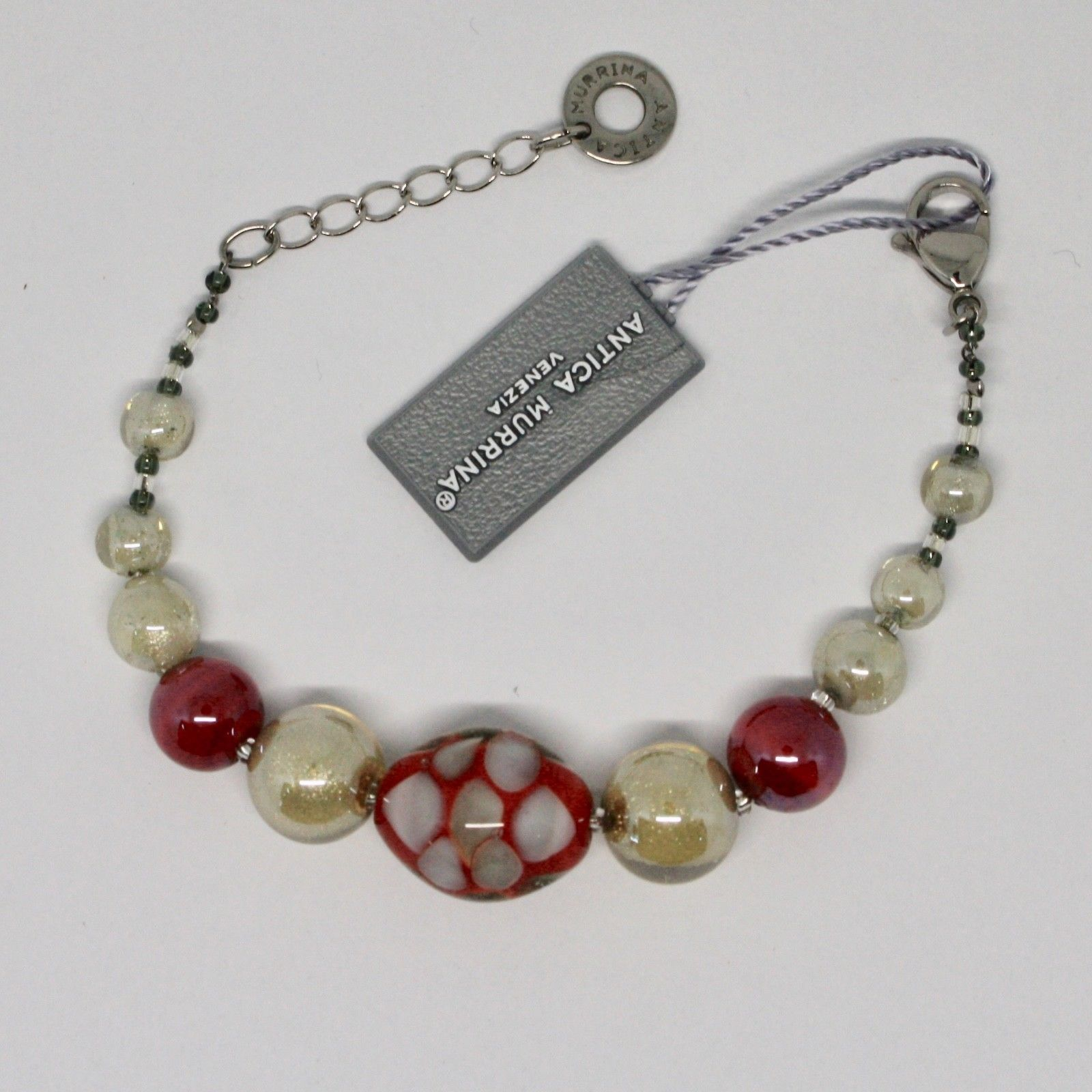 BRACELET ANTICA MURRINA VENEZIA WITH MURANO GLASS RED BEIGE CREAM BR745A31