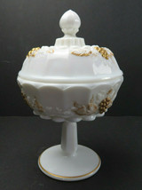 Vintage Westmoreland Hand Painted Milk Glass Covered Candy Sugar Dish Compote #3 - $25.00