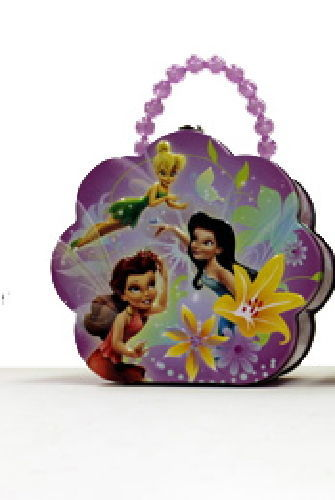 Disney's Tinker Bell Girls Flower Shape Purse Carry All Tin Tote Style A NEW