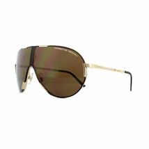 Porsche Design Folding Aviator Sunglasses - P8486 A - Gold Titanium / Brown - $118.79