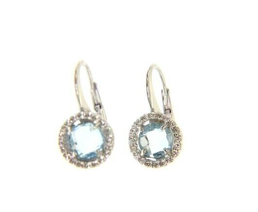 18K WHITE GOLD LEVERBACK EARRINGS CUSHION BLUE TOPAZ AND CUBIC ZIRCONIA FRAME