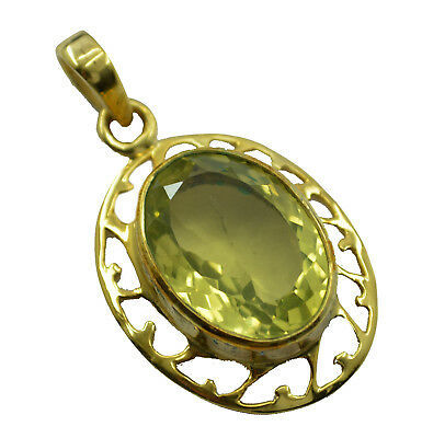 Primary image for fine-looking Lemon Quartz Gold Plated Yellow Pendant genuine jaipur US gift
