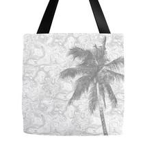 Tote bag All over print Design 67 palm tree grey gray digital art L.Dumas - $26.99+