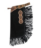 BLACK SUEDE LEATHER WESTERN HORSE SADDLE FANCY CHINKS CHAPS FOR WORK OR ... - $95.50