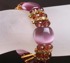 Popular purple cat eye stone beads stretch bracelets fashion crystal beads brace - $8.14