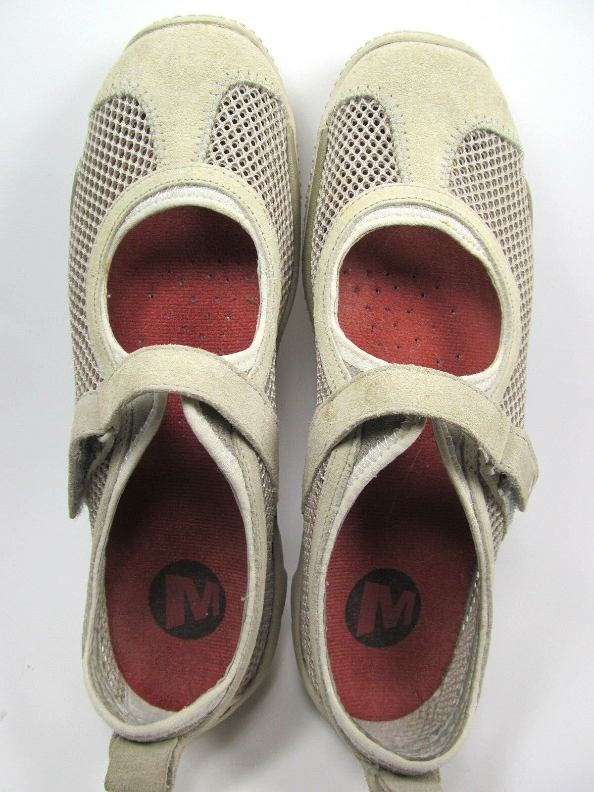 Merrell Taupe Womens Mesh Shoes Size 7.5 M Grey Suede Mary Jane Shoes image 6