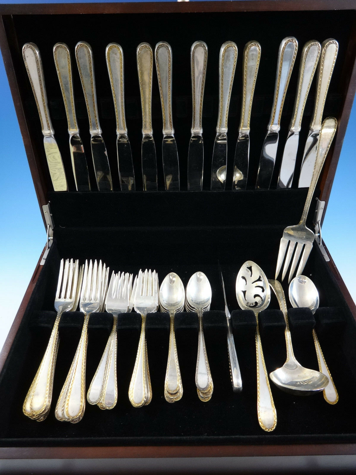 Primary image for Golden Winslow by Kirk Sterling Silver 12 Flatware Service Set 53 Pcs