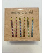 Hampton Art Studio G Rubber Stamp Make a Wish Birthday Candles Party Cel... - $4.99