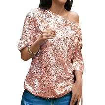 2018 Fashion Sexy Women Casual Loose Sequin Glitter Summer Blouses Off S... - $33.93