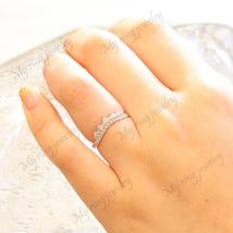 14k White Gold Floating Diamond Single Shared Prong Wedding Ring Band - $24.31
