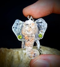 OPEN VESSEL: Hindu Elephant Pink Himalayan Salt, CZ, Natural Resin Penda... - $75.00
