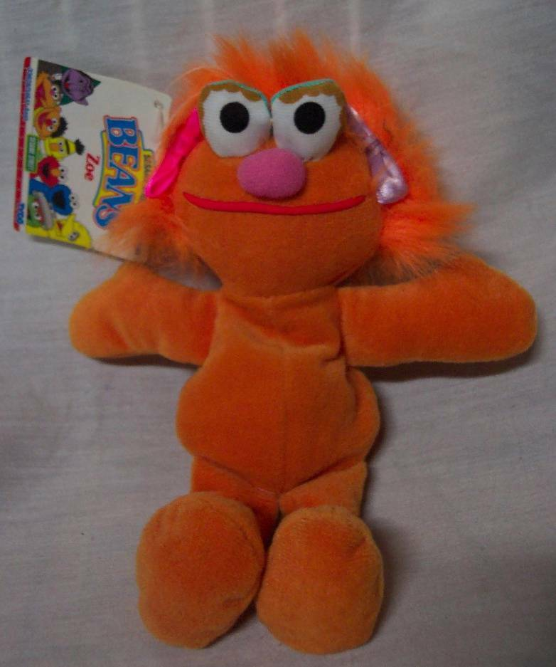 "Primary image for TYCO Sesame Street ZOE 7"" Bean Bag STUFFED ANIMAL Toy 1997 NEW"