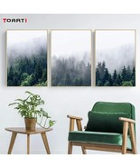 Nordic Fog Forest Poster And Print Abstract Landscape Canvas Art Painting - $3.69+