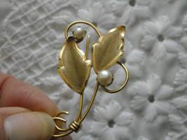 Pearl Pin Loran Sim 1/20th 12K GF Leaf & Pearl Heart Necklace dce 1/20th 14K GF  image 3