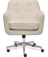 Serta - Ashland Bonded Leather & Memory Foam Home Office Chair - Cream - $312.37