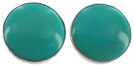 Vintage Sterling Turquoise Button Clip Earrings 20mm Cab-New Mexico Trad... - $53.99