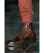Men's Handmade Pure Leather Military Style Boots, Custom Leather Field b... - $158.39+