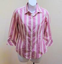 Banana Republic XS Top Pink Striped 3/4 Sleeve Shirt - $19.58