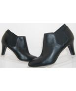 Bandolino Wilbur black leather almond toe elastic slip on bootie heels 6.5M - $29.19