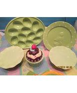 Egg Platter Titbit Sandwich Plate Pedestal Cupcake Platter Bundle 8 Pc Set - $69.29
