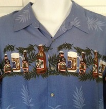 Campia Moda Hawaiian Aloha Camp Shirt Beer Bottles Cans Steins Size XL - $34.60