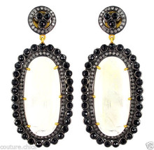 Black Spinel 14k Gold Pave Diamond Rainbow Moonstone Dangle Earrings .92... - $864.75